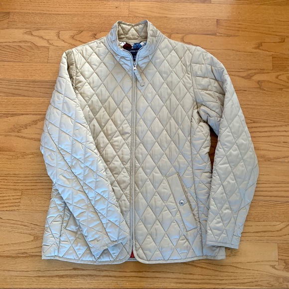 Lands' End Jackets & Blazers - Lands End Tan Quilted Jacket, Sz S